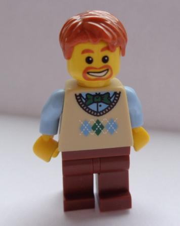 LN331 LEGO MINIFIGURKA NOVÁ MUŽ V BÉŽOVÉM SVETRU ZRZAVÉ VLASY
